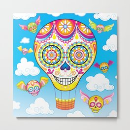 Sugar Skull Hot Air Balloon Metal Print