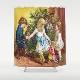Vintage Christmas Card 1880 Julekort Shower Curtain