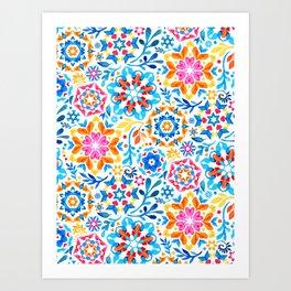 Watercolor Kaleidoscope Floral - brights Art Print