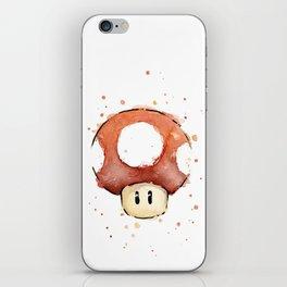 Red Mushroom Watercolor Mario Art Nintendo Geek Gaming iPhone Skin