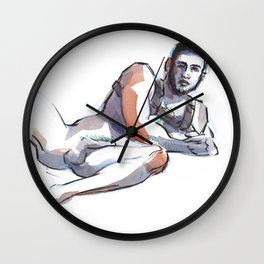 ANDRE, Nude Male by Frank-Joseph Wall Clock