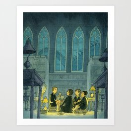 Dragon Tales In The Library Art Print