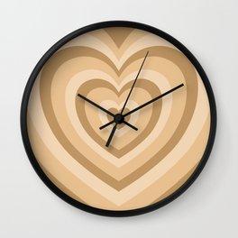 Beige Hearts Wall Clock
