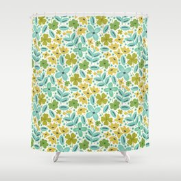 Clover & Floral Field Shower Curtain