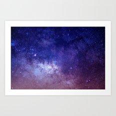 STARS - NIGHT - GALAXY - PURPLE - PINK - INDIGO Art Print