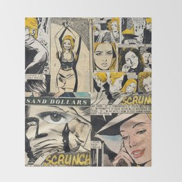 Italian Comics Vintage Pop art Collage Throw Blanket