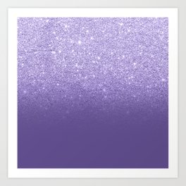 Modern ultra violet faux glitter ombre purple color block Art Print