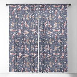 Dachshund in the snow on blue Sheer Curtain