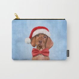 Drawing funny Vizsla pointer in red hat of Santa Claus Carry-All Pouch