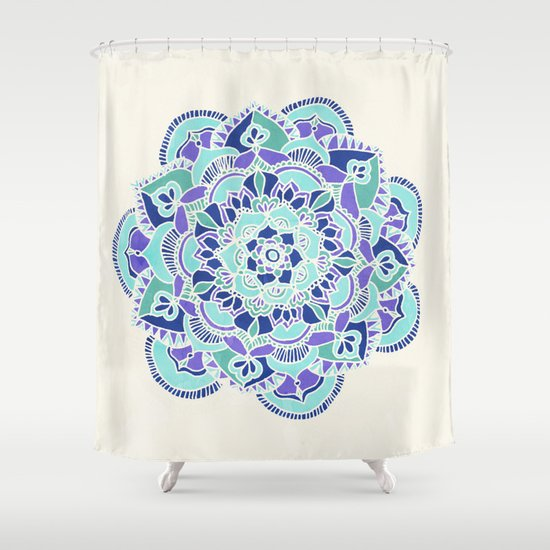 royal blue teal mint purple mandala flower shower