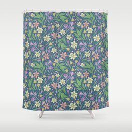 Yellow jonquil with purple crocuses and willow branches on dark background Shower Curtain