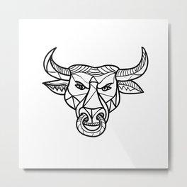 Texas Longhorn Bull Head Mosaic Metal Print