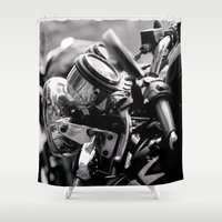 moto Shower Curtains featuring moto by Farkas B. Szabina