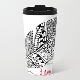 I Love You feather pen Travel Mug