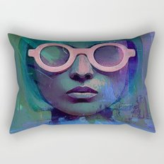 Pink Glasses girl Rectangular Pillow