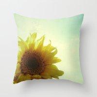 sunflower Throw Pillows featuring Sunflower by Cassia Beck