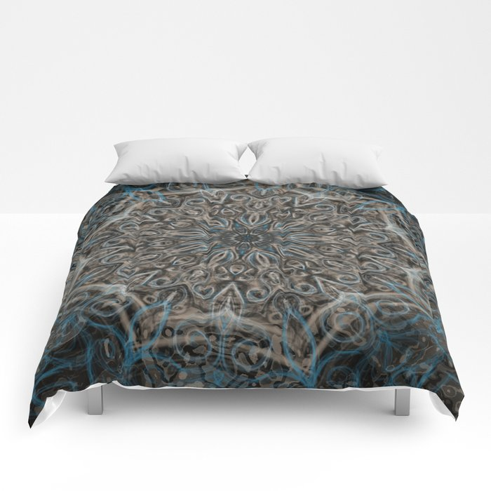 Blue and black Center Swirl Comforters