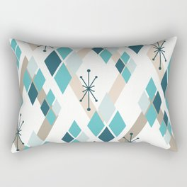 Mid Century Modern Diamonds (Teal) Rectangular Pillow