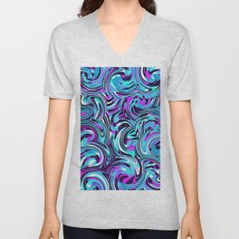 psychedelic spiral painting abstract pattern in blue pink and black Unisex V-Neck