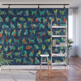 Colorful Christmas cats Wall Mural