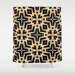 Black and Gold Foil Art Deco Shower Curtain