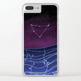 Capricorn Zodiac Constellation Design Clear iPhone Case