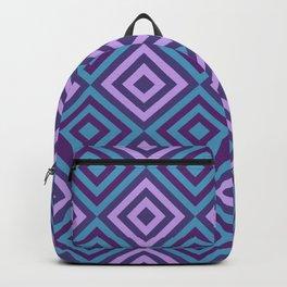 Blue and Purple Geometric Diamonds Digital Pattern Backpack