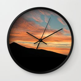 Red Clouds Scenic Sunset Black Hill Landscape Wall Clock