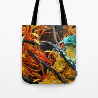 chameleon Tote Bags featuring Chameleon by Geni