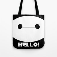 baymax Tote Bags featuring BAYMAX by Yiji