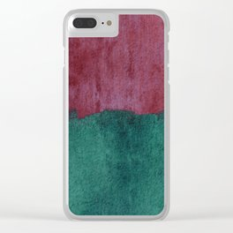 Abstract in raspberry red and ocean teal Clear iPhone Case