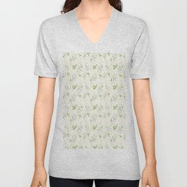 Hand painted watercolor pastel green ivory leaves floral Unisex V-Neck