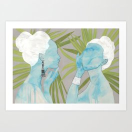 girls with silver jewelry / palmiye II Art Print
