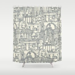 Ancient Greece indigo pearl Shower Curtain
