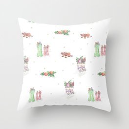 Christmas Boots Pattern Throw Pillow