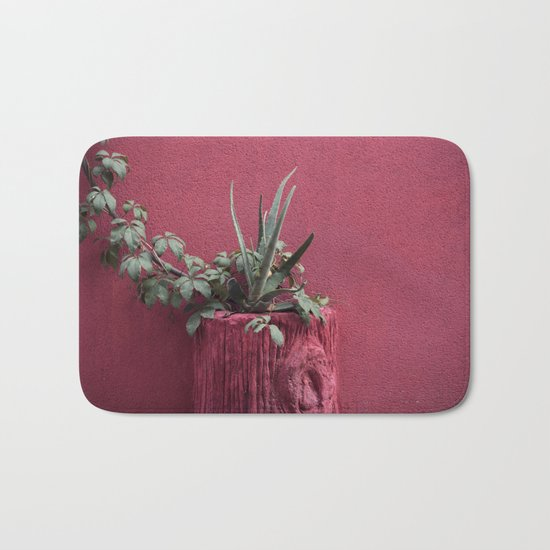 Pink and plant Bath Mat