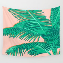 Palm trees on pink Wall Tapestry