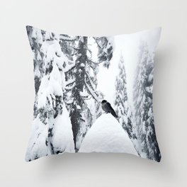 Whiskey Jack in the snow Throw Pillow