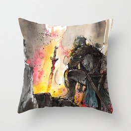 Dark Souls Bonfire with a Warrior Japanese calligraphy Throw Pillow