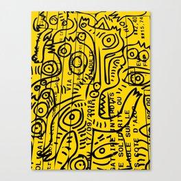 Yellow Street Art Graffiti Train Ticket Canvas Print
