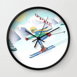 Skiing Girl Wall Clock