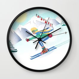 Skiing Girl Wall Clock