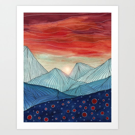 Lines in the mountains IV Art Print