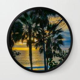 Sunset Through the Palms, Laguna Beach Wall Clock