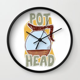 Funny Caffeine Beverages Coffee Brewer Beans Gift Pot Head Hilarious Coffee Lovers Wall Clock