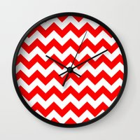 chevron Wall Clocks featuring Chevron (Red/White) by 10813 Apparel