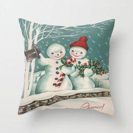 Snowmen Christmas Candy Canes Throw Pillow