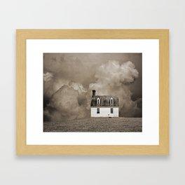 House in Sepia Brown Framed Art Print