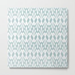 Decorative Plumes - White on Green Grey Metal Print