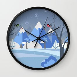 Winter in Mountains Wall Clock